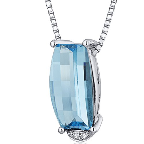 (Radiant 2.25 carats Barrel Cut Sterling Silver Rhodium Finish Swiss Blue Topaz Pendant)