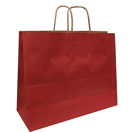Kraft Red Paper Extra Large Vogue 16X6X12 25 Count Shopping Gift Party Merchandise Wedding Christmas Valentine Retail Carry Reusable Twisted Handle Bag
