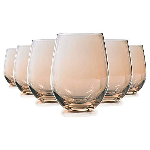 MIUSITE Glassware Water Wine Whisky Tumblers Glasses, Set of 6-500ml(17.6oz), Home Party Bar Restaurant