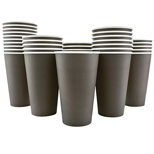 200 Pack - 16 Oz [8, 12] Disposable Hot Paper Coffee Cups - Mocha Brown (Cups Only)