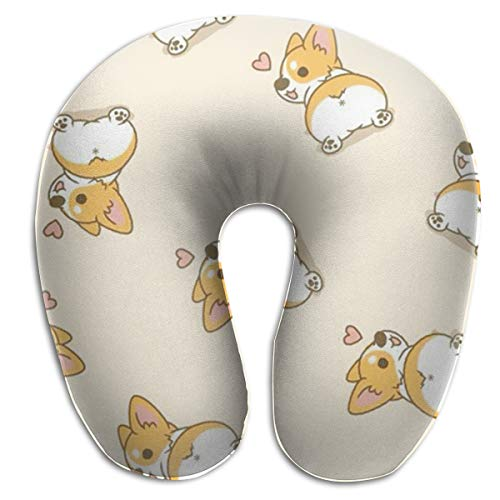 XUJ YOGA Ideal Gift Corgi Butt Heart Corgi Memory Foam Neck Pillow Comfy Soft U-Shape Cervical Pillow Head Support for Travel Office Home Car Sleeping and Easy Clean