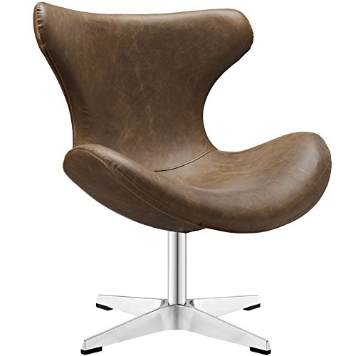 Modway Helm Vinyl Lounge Chair in Brown