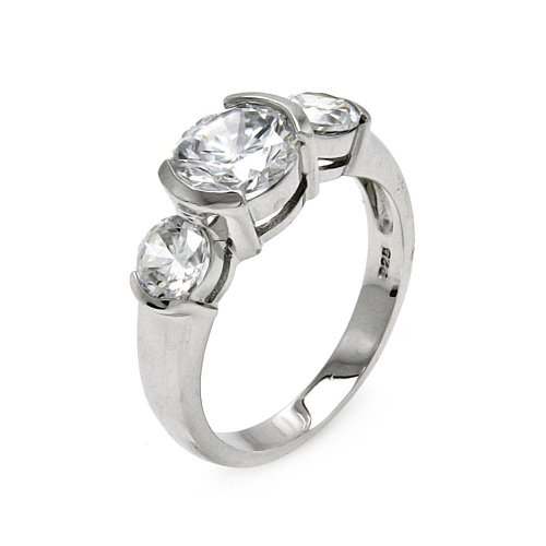 Princess Kylie Three Set Stone Cubic Zirconia Half Bezel Set Ring Rhodium Plated Sterling Silver Size 7