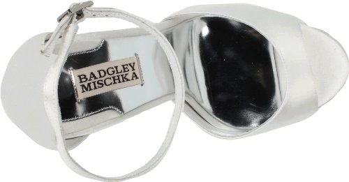 Badgley Mischka Damesshirt Enkel-band Sandaal Wit Satijn