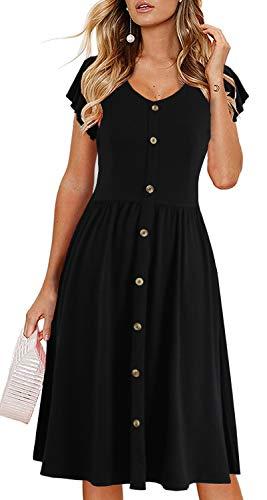 Lamilus Casual Dress, Ruffle Sleeve Dress:Women's Summer V-Neck Solid Button Down Beach Swing A-Line Midi Dress(L,Black L026) ()