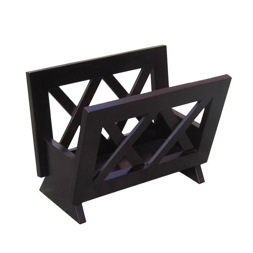 (Oceanstar Contemporary Solid Wood Magazine Rack, Mahogany Finish)