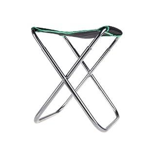 Andoer Silla de tela Aluminio Oxford plegable portable Al aire libre Patio para pesca acampar con bolsa verde