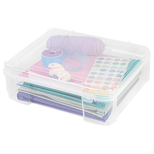 IRIS 14 in. x 14 in. Portable Project Organizer Case in Clear, great for Arts and Crafts, Scrapbooking Supplies Storage and Many More, Portable and Durable by .IRIS.