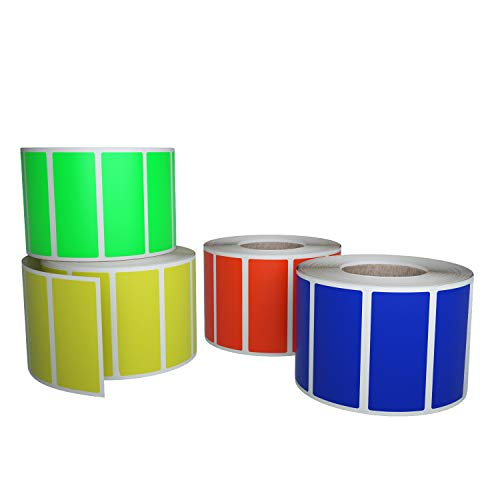 Royal Green Color Coding Stickers in 4 Colors - Red, Yellow, Blue and Neon Green - Rectangular Labels Rolls Write on Surface - 2000 Pack