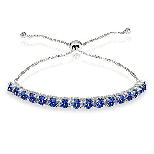 Sterling Silver 4mm Blue Round-cut Bolo Adjustable Bracelet made with Swarovski - Swarovski Bracelets Round