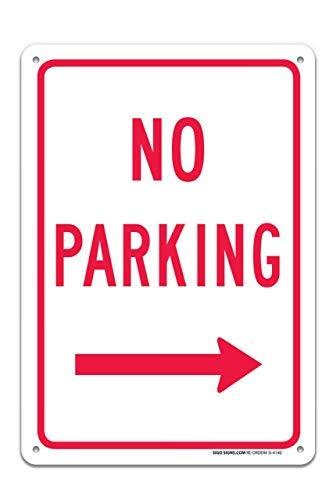 einfach zu montieren rostfreies Aluminium mit professionellen Grafiken Miles2345 Schild No Parking in Right Arrow f/ür drinnen und drau/ßen UV-Bedruckt 25,4 x 35,6 cm