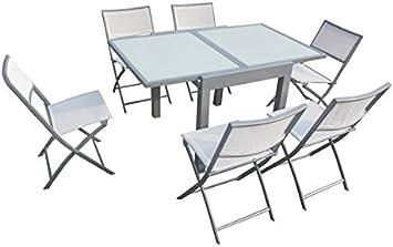Quality Ferreteria Plus M279699 Table carrée Extensible en Aluminium et  Plateau en Verre
