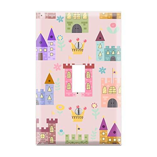 Pink Castle Princess Light Switch Plate, Gold Crown Light Switch Cover, Pink Glitter Light Switch Cover, Glitter Art, Glitter Lover TF48
