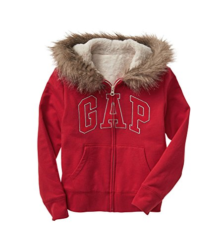 GAP Girls Faux Furr Logo Fleece Full Zip Hoodie Sweatshirt (S 6-7)