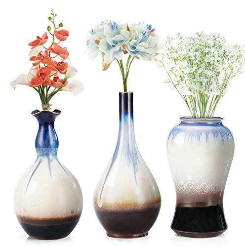 LH Ceramic Flower Vases Set of 3, Unique Glazed Design,Decorative Modern Floral Vase for Home Decor Living Room Centerpieces and Events (Ceramic Vase Floral)