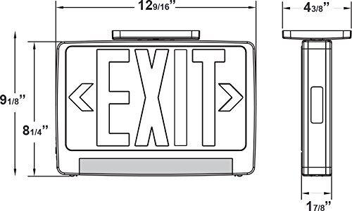 Ciata Lighting LED Red Exit Sign & Emergency LED Lightpipe Combo with Battery Backup - 2 Pack