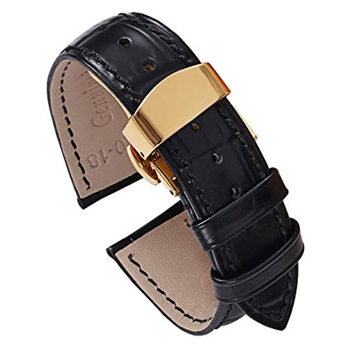 PBCODE Black Calfskin Leather Watch Bands 20mm with Gold Deployment Buckle for Men and Women (Calfskin Watch Band)
