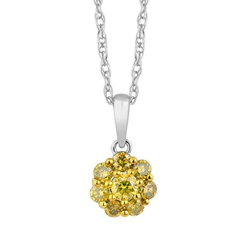 Jewelili femme  9carats (375/1000)  Or blanc|#Gold Rond   Jaune Diamant