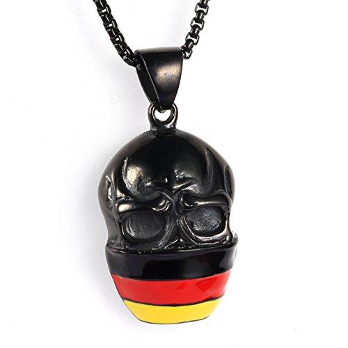 Adisaer Pendant Necklace for Men Black Skull Head Tri-color Flag Pendant Punk Stainless Steel Necklace