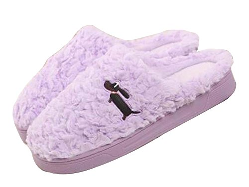 [hond Paars] Vrouwen Comfortabele Pluche Pantoffels Winter Slippers Fuzzy Indoor Slippers