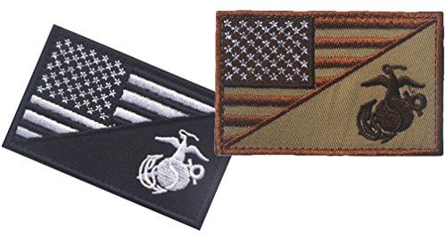 QTao UPA154 Hook & Loop Velcro USA American Flag w/ Marine C