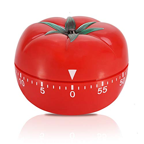 Timer, 1 Pack 60 Minutes Kitchen Timer Pomodoro Timers Tomato Shaped No Batteries Red