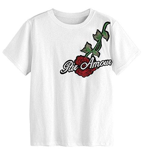 Blackobe Women Summer Short Sleeve White Embroidered Applique T-shirt Blouse Tops (M, White)