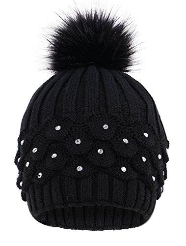Livingston Womens Faux Fur Pompom Winter Cable Knit Beanie w/Sequins
