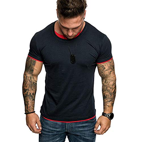 (iLXHD Mens T-Shirt Summer Casual Solid Color Fake Two Short Sleeved T-Shirt Blouse Top Blue)