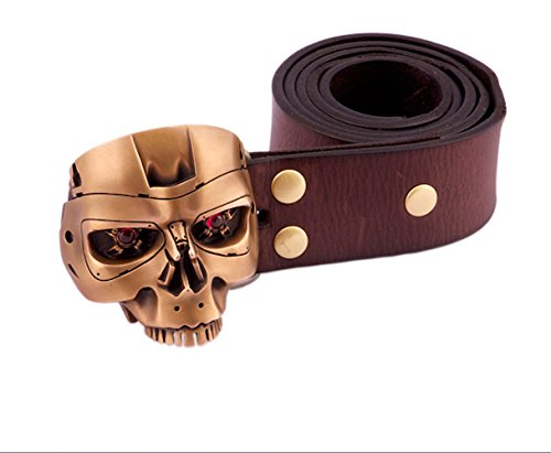 Handmade Fine Bronze T800 Terminator Head Men Belt Buckles with Cowhide Leather