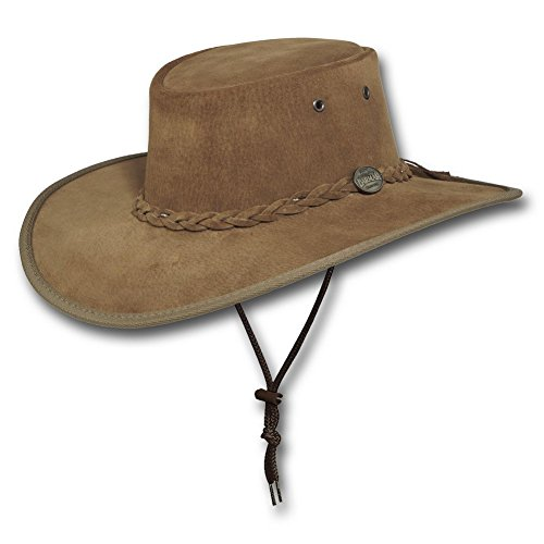 Barmah Canvas - Barmah Hats Wide Brim Suede Leather Hat - 1093BL / 1093HI / 1093LM / 1093RB (Small, Hickory)