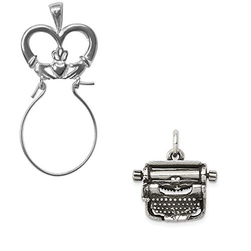 Mireval Sterling Silver Antiqued Typewriter Charm on a Claddagh Charm Holder