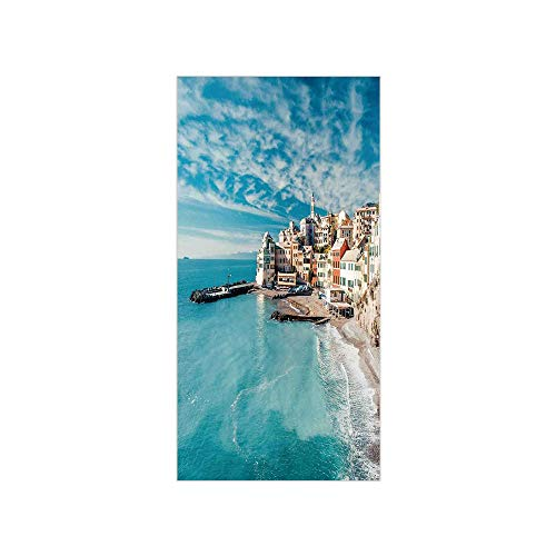 3D Decorative Film Privacy Window Film No Glue,Farm House Decor,Panorama of Old Italian Fish Village Beach Old Province Coastal Charm Image,Turquoise,for Home&Office
