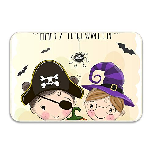 Non Slip Backing Doormat Halloween Card Two Girls