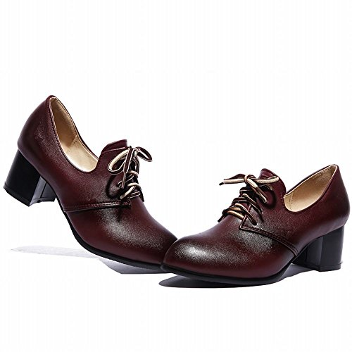 Red Women's Mid Chunky Shoes Oxfords Vintage Fashion Lace up Heel Carolbar Retro Wine 4cO7wqd7F