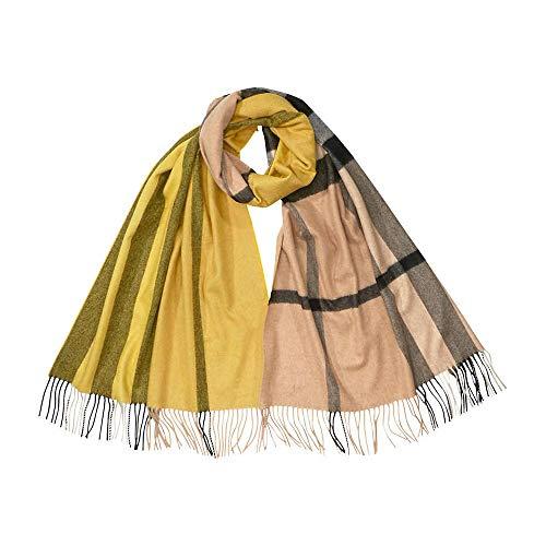 Burberry Colour Block Cashmere Scarf- Gorse Yellow
