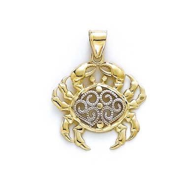 14 carats-Bicolore-Crabe-JewelryWeb/filigrane