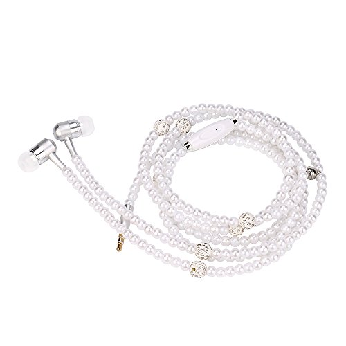 Pearl Stereo - Joint Pearl Necklace Earphone, Universal 3.5mm In-Ear Stereo Pearl Beads Jewelry Headphone Headset Super Bass Music Noise Cancelling Earbuds with Mic For iPhone iPad Mp3 Mp4 and more (White)