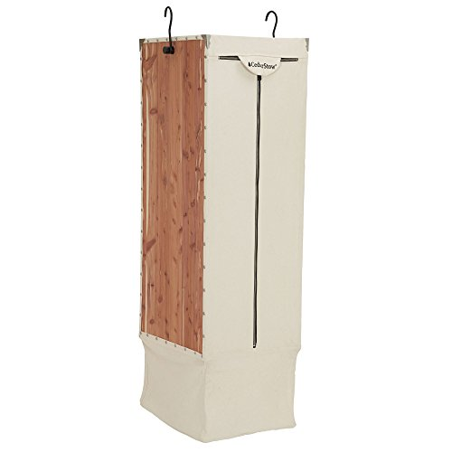 Household Essentials Cedar Stow Long Garment Bag Hanging Wardrobe, Off- Off-White
