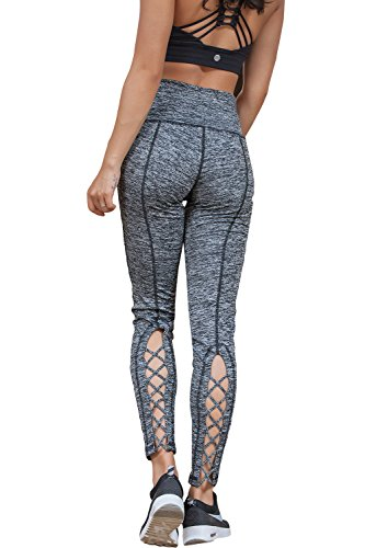 Womens Fashion Running Leggings Yoga Gym Pant With Woven Crossover Design