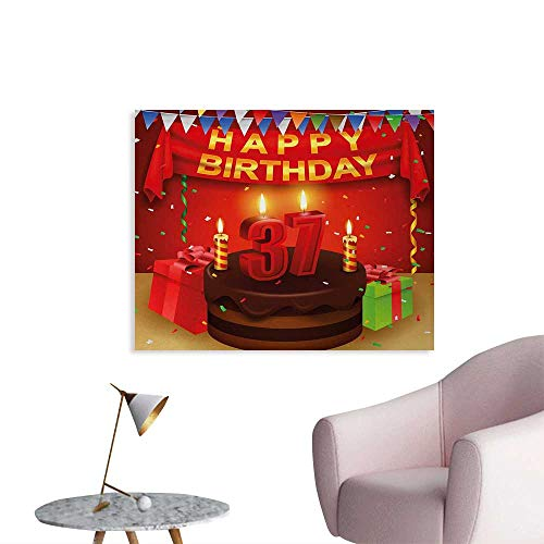 Tudouhoho 37th Birthday Space Poster Chocolate Cake Gifts Balloons Flag Cute Icons Candles Artsy Design Image Home Decor Wall Multicolor W48 xL32