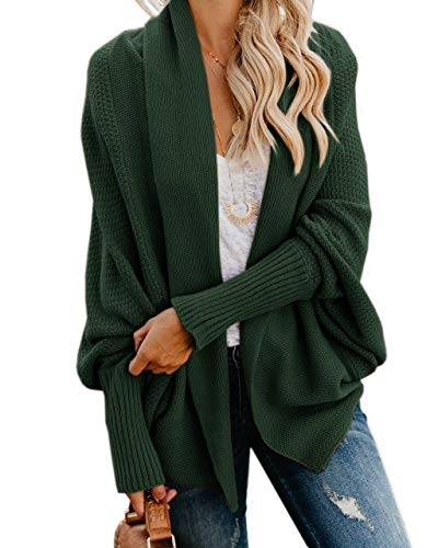 (Imily Bela Womens Kimono Batwing Cable Knitted Slouchy Oversized Wrap Cardigan Sweater Green)