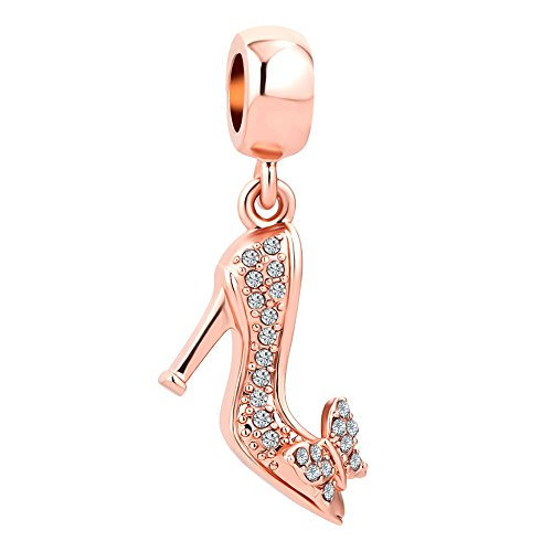 JewelryHouse Butterfly Stiletto High-Heeled Shoes Sparkling Rose Gold Crystal Charms (High-Heeled Shoe) ()