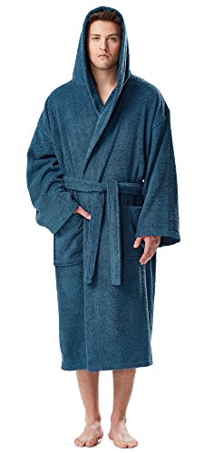 Arus Men's Classic Hooded Bathrobe Turkish Cotton Terry Cloth Robe (L/XL,Ocean Blue)