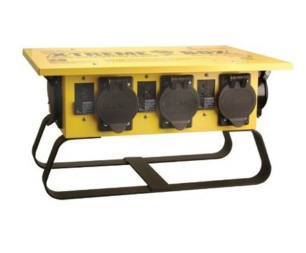 Southwire 19703R02 Power Distribution Box featuring 6 straight blade receptacles and 1 twist-lock 30 amp receptacle; A stackable, portable power distributor box for 50 amp, 125/250 Volt, 12,000 Watt