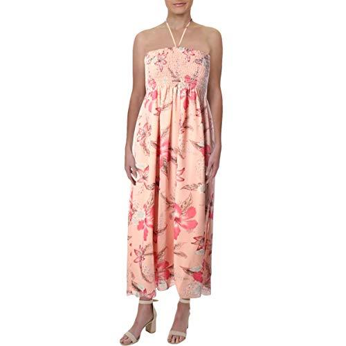 Juicy Couture Black Label Womens Chiffon Floral Print Midi Dress Pink L -