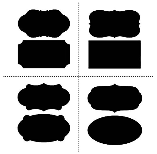 UNI-FAM Mason Jars Labels, 40 Chalkboard Stickers - Canisters Labels - Chalk Makers Erasable (Spray Freezer)