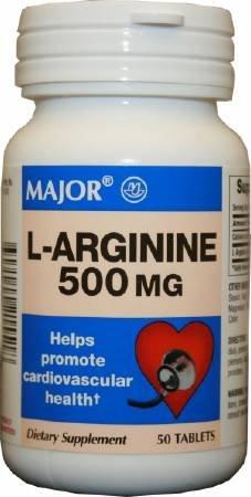 Major - L-Arginine Supplement - 500 mg Strength - Tablet - 50 per Bottle-McK