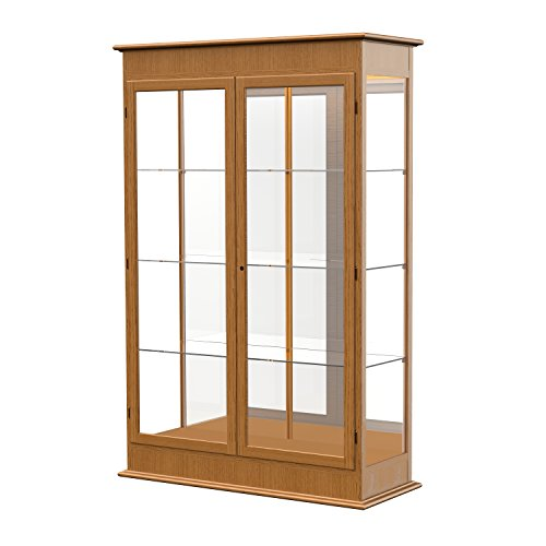 Waddell Varsity Hinged Doors Lighted Display Case, 48W by 77H by 18'' D, Mirror Back with Carmel Oak Finish by Waddell
