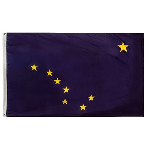 Annin Flagmakers Model 140180 Alaska State Flag Nylon SolarGuard NYL-Glo, 5×8 ft, 100% Made in USA to Official Design Specifications